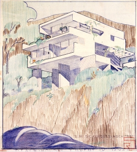 Design for a beach house, California, for Rupert R. Ryan. RIBA Library Drawings & Archives Collections