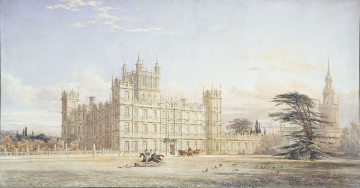 Designs for remodelling the exterior of Highclere Castle, Hampshire, for the 3rd Earl of Carnarvon: perspective by Sir Charles Barry (1795-1860). Drawing by Thomas Allom (1804-1872). © RIBA Library Drawings Collection.
