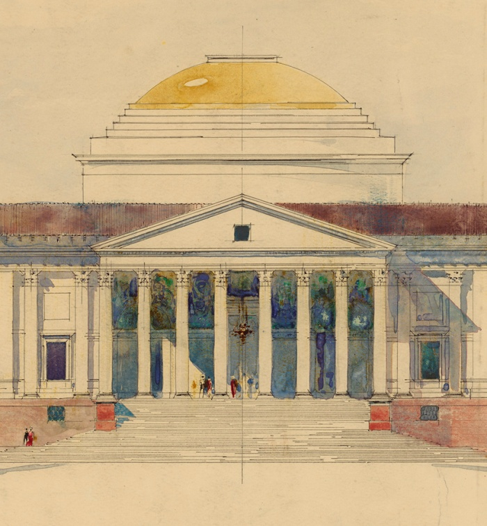 A 1912 preliminary study of an elevation of a building with a domed rotunda, an octastyle portico and lateral wings designed by Sir Edwin Landseer Lutyens (1869-1944) in 1931 for the Viceroy's House in New Delhi, India. © RIBA Library Drawings Collection.