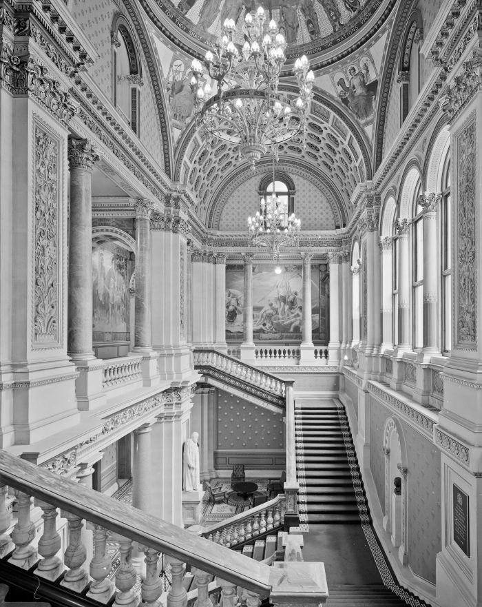 The state stair in the Foreign and Commonwealth Office at Whitehall, London was designed by Sir George Gilbert Scott (1811-1878) and Sir Matthew Digby Wyatt (1820-1877) and was completed in 1868. © Richard Ingle / RIBA Library Photographs Collection.