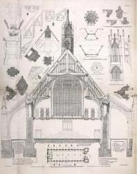 Westminster Hall, Palace of Westminster, London, section, plan and details. Subject from 1402 and image from 1822. © RIBA Collections