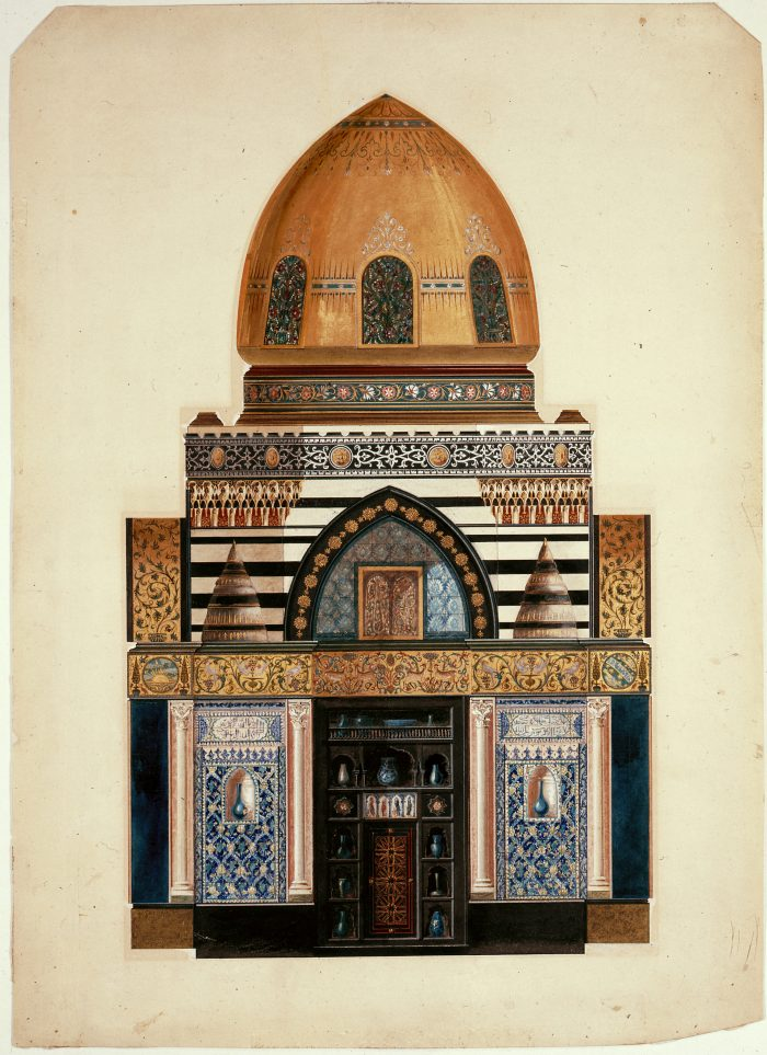 RIBA3877 RIBA Collections Design for the elevation of a wall with Zenana in the Arab Hall, Leighton House, 12 Holland Park Road London