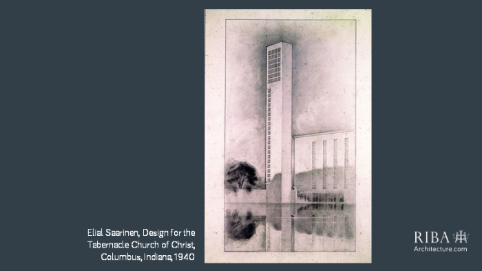 Elial Saarinen Design for the Tabernacle Church of Christ in Columbus Indiana 1940