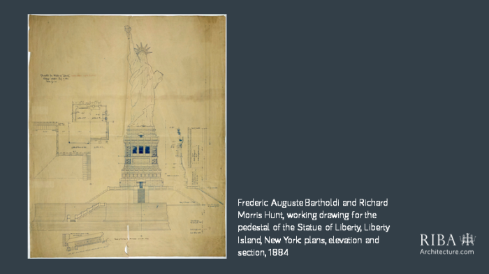 Frederic August Bartholdi and Richard Morris Hunt Statue of Liberty drawing 1884
